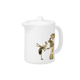 Girl and Crane with Paintbrush Teapot