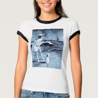 Girl and Dog Day at the Beach Vintage Victorian Tshirt