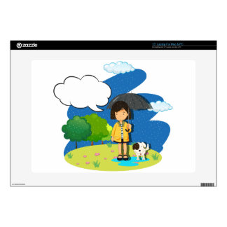"""Girl and dog in the rain 15"""" laptop skins"""