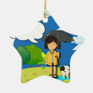Girl and dog in the rain ceramic ornament