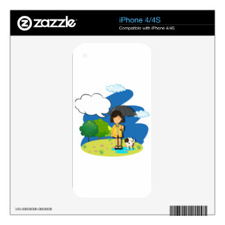 Girl and dog in the rain iPhone 4 skins