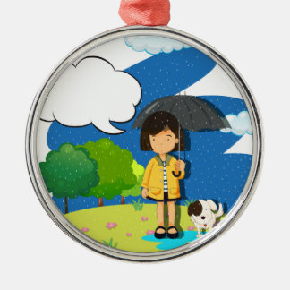 Girl and dog in the rain metal ornament