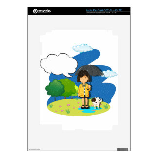 Girl and dog in the rain skin for iPad 3