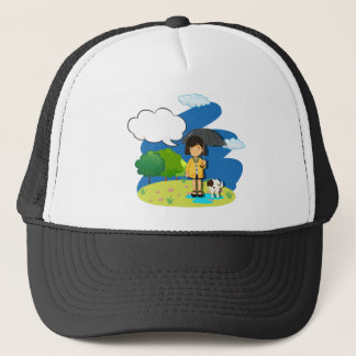 Girl and dog in the rain trucker hat