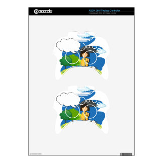 Girl and dog in the rain xbox 360 controller decal