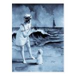 Girl and Dog vintage 1913 Postcard