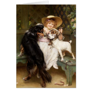 Girl and Dogs in the Garden, Card