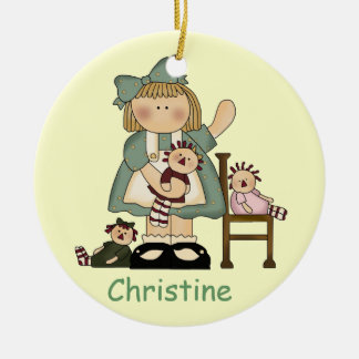 Girl and dollies ornament