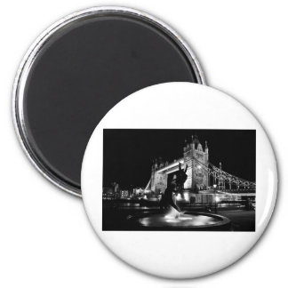 Girl And Dolphin Statue And Tower Bridge Magnet