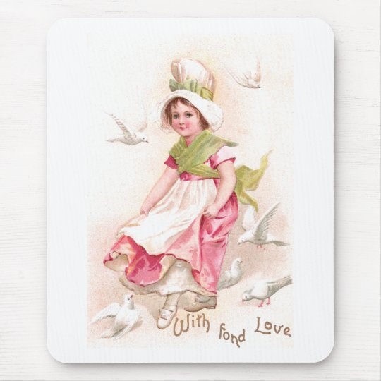Girl and Doves Vintage Valentine Mouse Pad