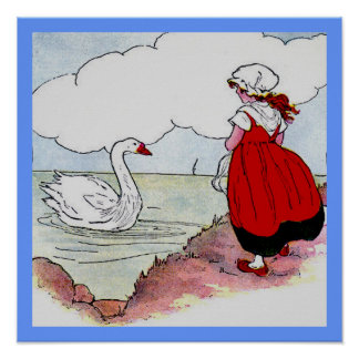 Girl and Duck on Pond Print