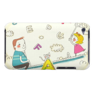 Girl and father sitting on seesaw iPod touch cases