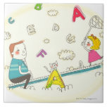 Girl and father sitting on seesaw ceramic tile