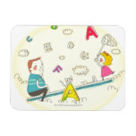 Girl and father sitting on seesaw flexible magnets