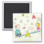 Girl and father sitting on seesaw fridge magnet
