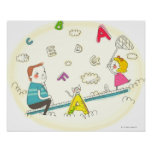 Girl and father sitting on seesaw posters