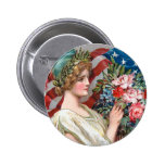 Girl and Flag_002 Button