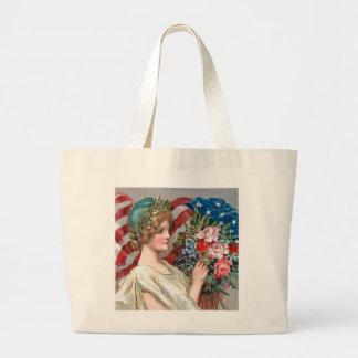 Girl and Flag_002 Large Tote Bag