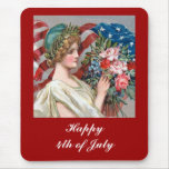 Girl and Flag_002 Mouse Pad