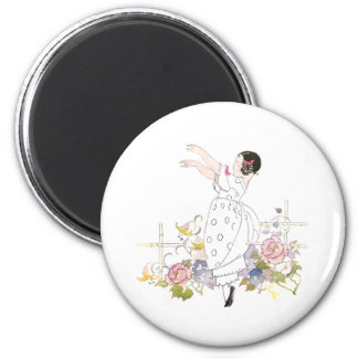 Girl and Flowers 2 Inch Round Magnet
