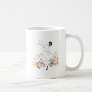 Girl and Flowers Classic White Coffee Mug
