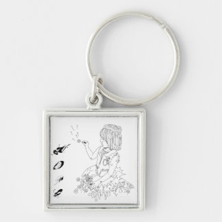 Girl and flowers keychain