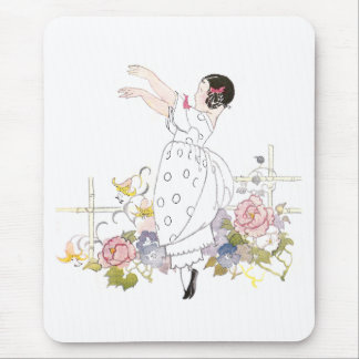 Girl and Flowers Mouse Pad