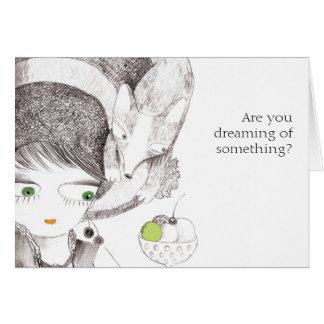 Girl and fox dreaming card