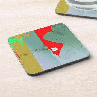Girl and get away beverage coaster