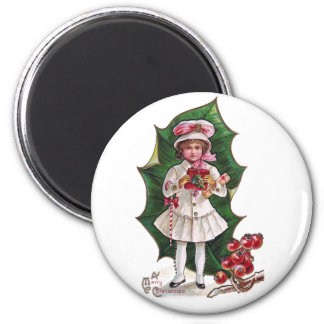 Girl and Giant Holly Leaf Vintage Xmas 2 Inch Round Magnet