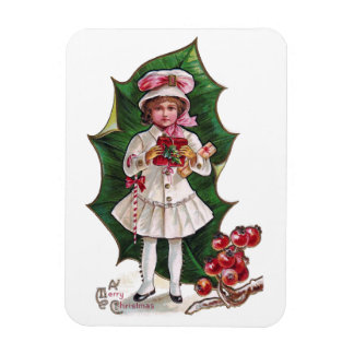 Girl and Giant Holly Leaf Vintage Xmas Rectangular Photo Magnet