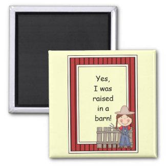 Girl and Hayfork - Farmyard Barnyard Friend - Kids 2 Inch Square Magnet