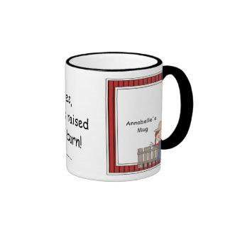 Girl and Hayfork - Farmyard Barnyard Friend - Kids Ringer Coffee Mug