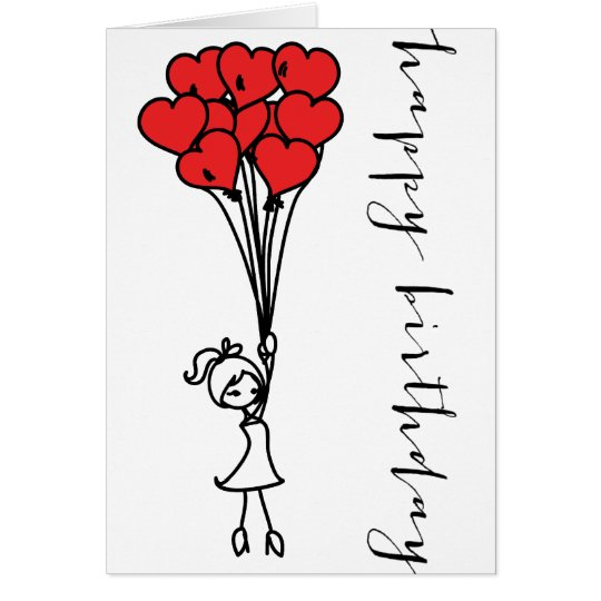 Girl and Heart Balloons Doodle Happy Birthday Card – Doodle Birthday Card