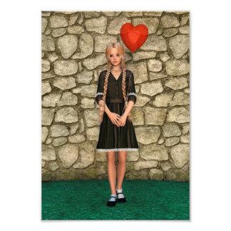 Girl and Heart Photo Print