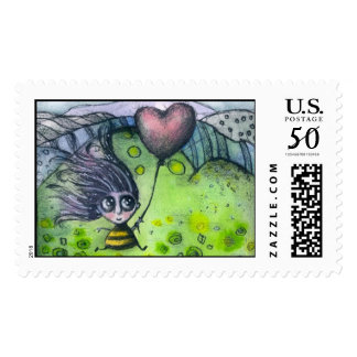Girl and Heart Postage