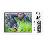 Girl and Heart Postage Stamp