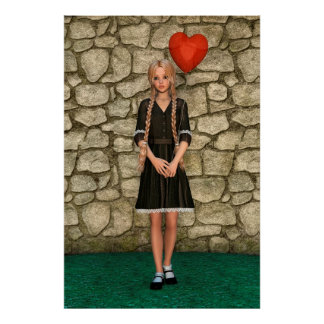 Girl and Heart Poster