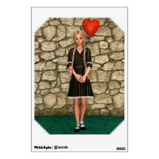 Girl and Heart Wall Sticker