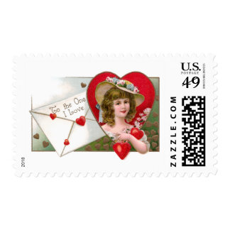 Girl and Hearts Vintage Valentine Stamps
