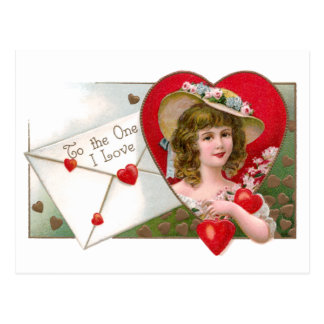 Girl and Hearts Vintage Valentine Post Card