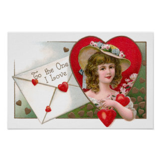 Girl and Hearts Vintage Valentine Poster