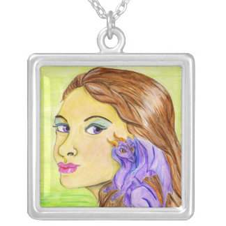 Girl and Her Dragon Silver Plated Necklace