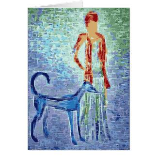 Girl and her faithful dog card