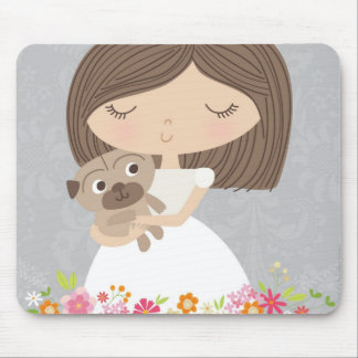 Girl and her pug mousepad
