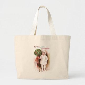 Girl and Holly Ball Vintage Christmas Large Tote Bag