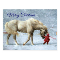 Girl and Horse Christmas Postcard