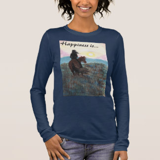 """Girl and Horse """"Happiness is"""" Ladies T-Shirt"""
