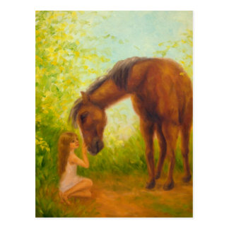 """""""Girl and Horse"""" Postcard"""
