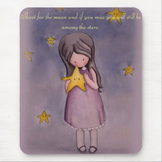 Girl and Kawaii Stars Inspirational Quote Mousepad